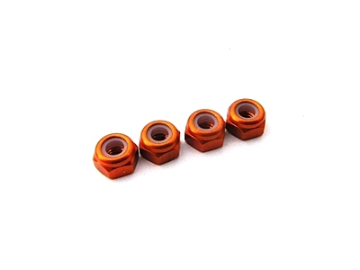 Hiro Seiko 3mm Alloy Nylon (S_Size) Nut (Orange·4pcs)
