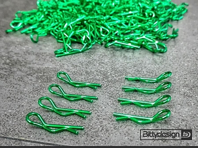 Bittydesign Clips Kit for 1/10 Off/On-road Bodies (Green, 8pcs)