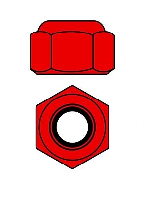 Corally Aluminium Nylstop Nut M2 (Red·10pcs)