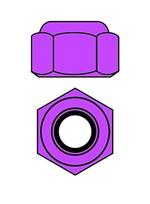 Corally Aluminium Nylstop Nut M3 (Purple·10pcs)