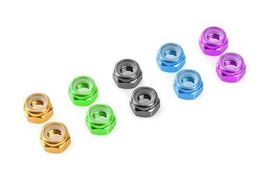 Team Corally - Aluminium Nylstop Nut - M3 - Purple - 10 pcs