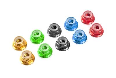 Team Corally - Aluminium Nylstop Nut - M4 - Flanged - Green - 10 pcs