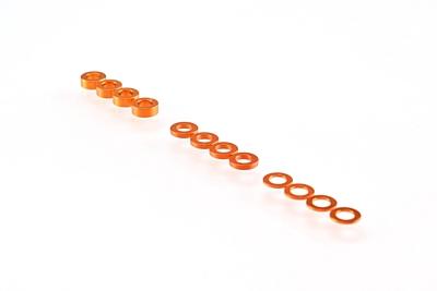 Ruddog 3mm Washer Set 0.5mm/1.0mm/2.0mm (12pcs·Orange)