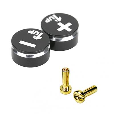 1up Racing LowPro Bullet Plug Grips – Black/Black + LowPro Bullet Plugs 4mm (2pcs)