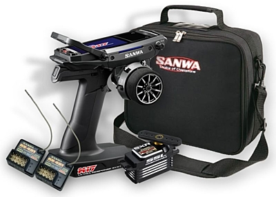Sanwa M17 Radio + 2x RX-491 Receiver & Preinstalled Battery + PGS-LH2 Servo + Carrying Bag