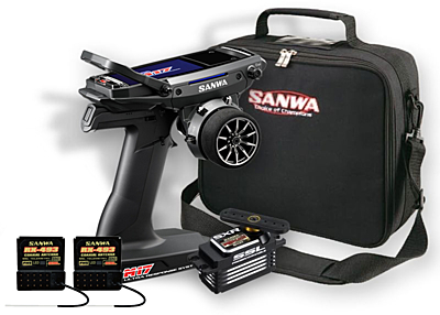 Sanwa M17 Radio + 2x RX-493 Receiver & Preinstalled Battery + PGS-LH2 Servo + Carrying Bag