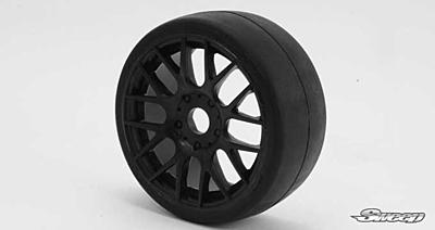 Sweep 1:8 GT Tires 45 Shore Slick Pre-Glued Black Wheel (2pcs)