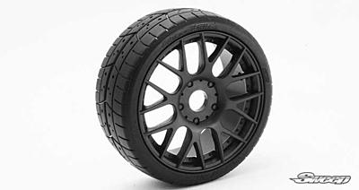 Sweep 1:8 GT Tires 40 Shore Treaded Pre-Glued Black Wheel (2pcs)